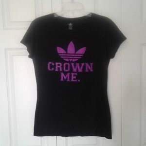 "Adidas tee, black w/purple ""Crown Me"""
